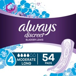 Always Discreet Incontinence Pads - Moderate Absorbency - Long - Size 4 - 54ct