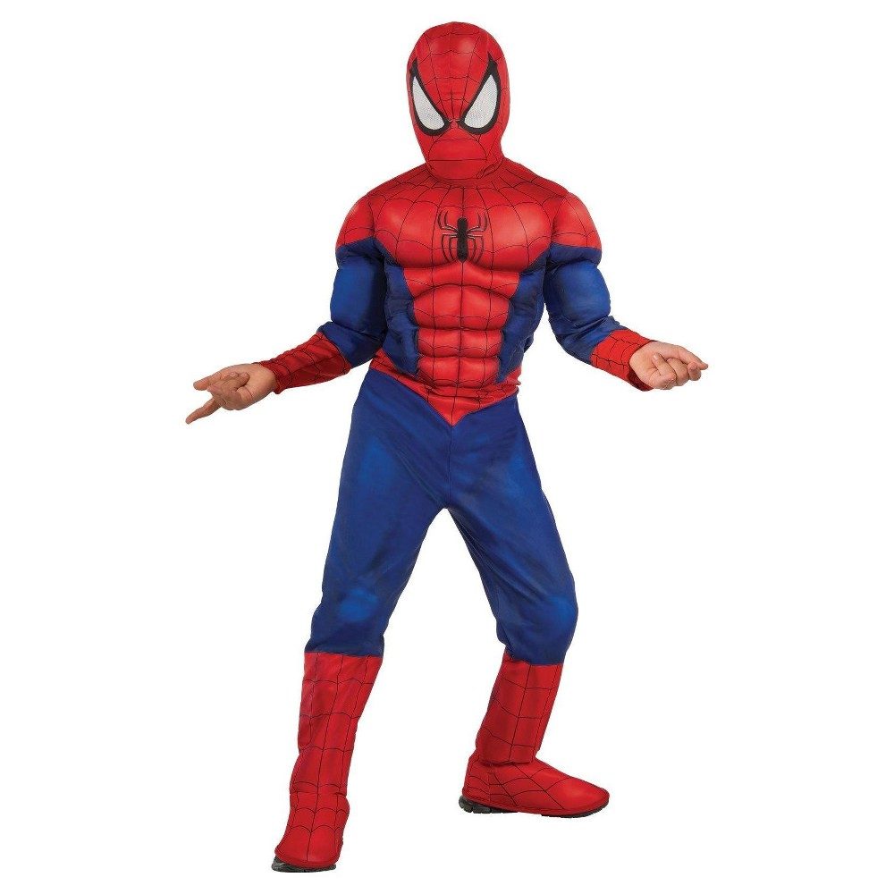 Spider-Man Boys' Muscle Chest Costume Large (12-14), Size: L (12-14), Blue