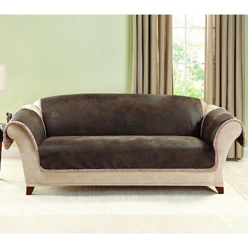 Brown Vintage Leather Sofa Slipcover Sure Fit Target