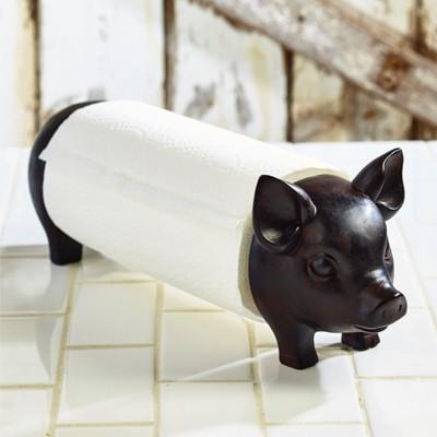 Lakeside Farmhouse Pig Paper Towel Holder - Decorative Standing Utensil for Kitchens