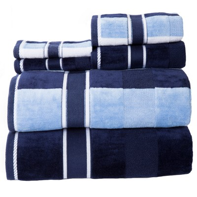 Stripe Bath Towels And Washcloths 6pc Navy - Yorkshire Home