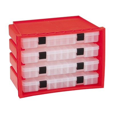Plano Portable Plastic Rack System Organizer Case w/ 4 StowAway Utility Storage Box Drawers & Adjustable Dividers, Red