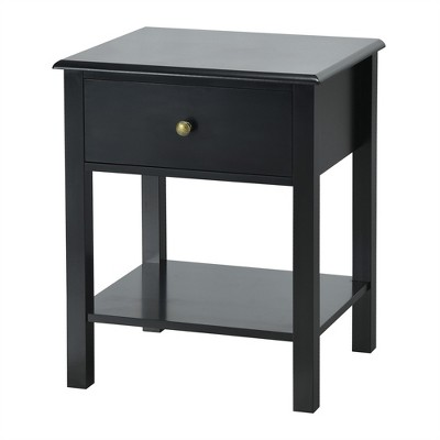 Costway End Table Nightstand Storage Display Drawer Shelf Beside Bedroom White\Black
