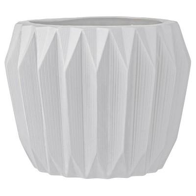 Ceramic Fluted Flower Pot - White (7 )- 3R Studios