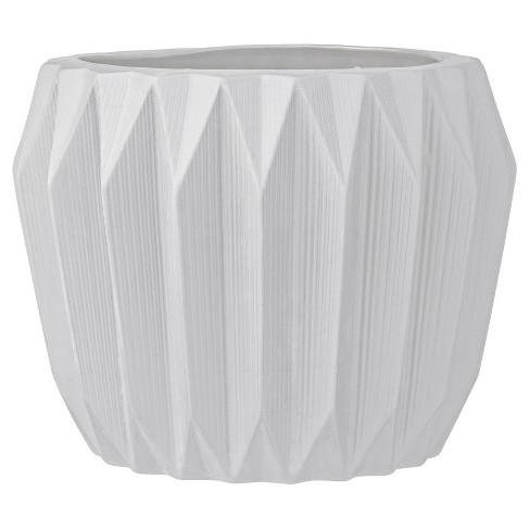"Ceramic Fluted Flower Pot - White (7"") - 3R Studios - image 1 of 3"