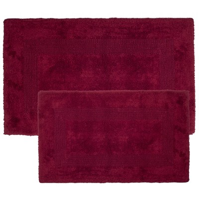 2pc Solid Bath Mat Set Burgundy - Yorkshire Home