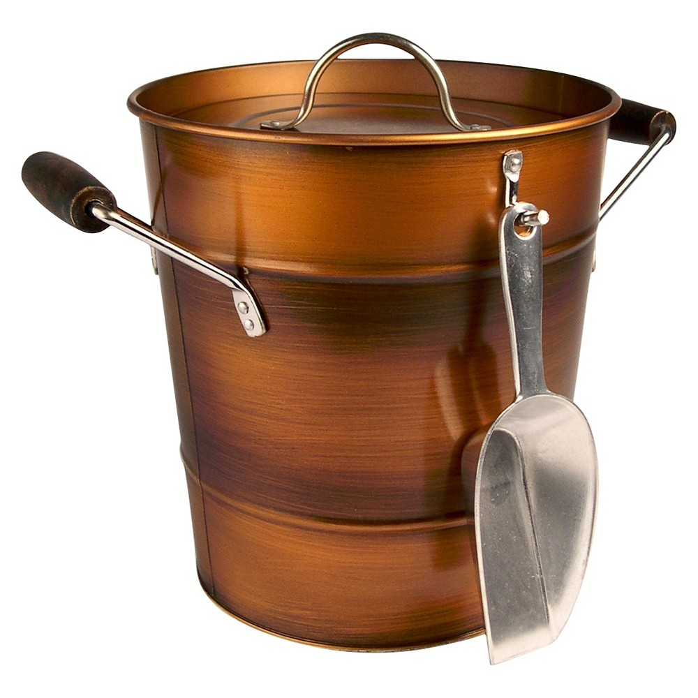 Image of Masonware Ice Bucket with Scoop, Antique Copper