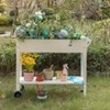 Gardenised Mobile Planter Raised Garden Bed Rectangular Flower Cart with Shelf - image 2 of 4