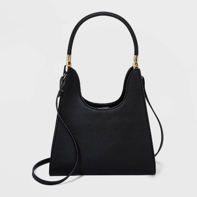 Trapezoid Magnetic Closure Mini Satchel Handbag - A New Day™ Black