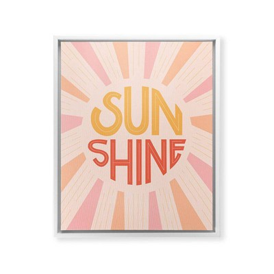 Lyman Creative Co. Sunshine Hand Lettering Framed Wall Canvas White/Pink - Deny Designs
