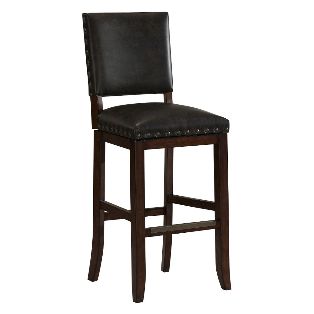 "Image of ""26"""" Sutton Bonded Leather Swivel Counter Stool Hardwood/Brown/Tobacco - American Heritage Billiards"""