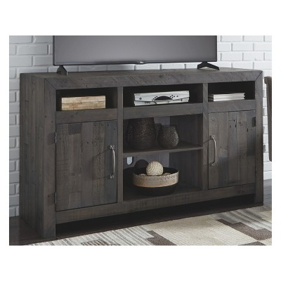 Mayflyn Large TV Stand with Fireplace Option Charcoal Gray - Signature Design by Ashley