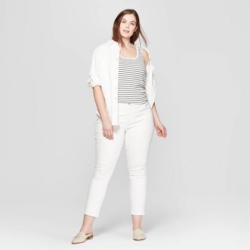 f967c07fffc3e Women s Plus Size Striped Sleeveless Scoop Neck Rib Racerback Tank Top -  Universal Thread™ White Black   Target