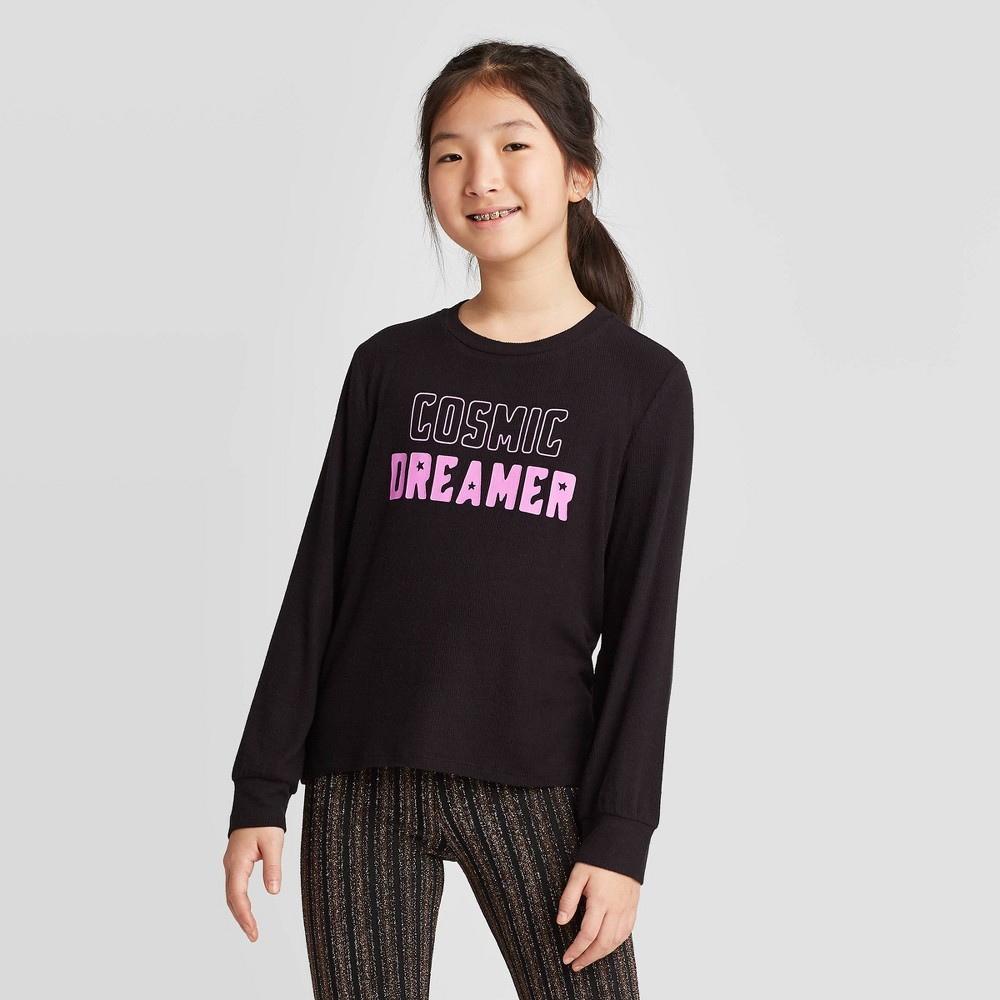Girls' Long Sleeve Waffle Knit Glow in the Dark Top - art class Black L, Girl's, Size: Large was $14.99 now $5.24 (65.0% off)