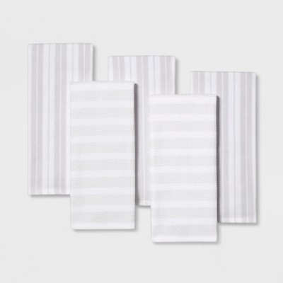 5pc Kitchen Towels White/Silver - Threshold™