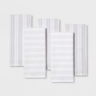 5pk Kitchen Towels White/Silver - Threshold™