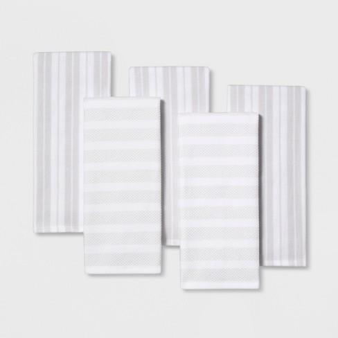 5pc Kitchen Towels White/Silver - Threshold™