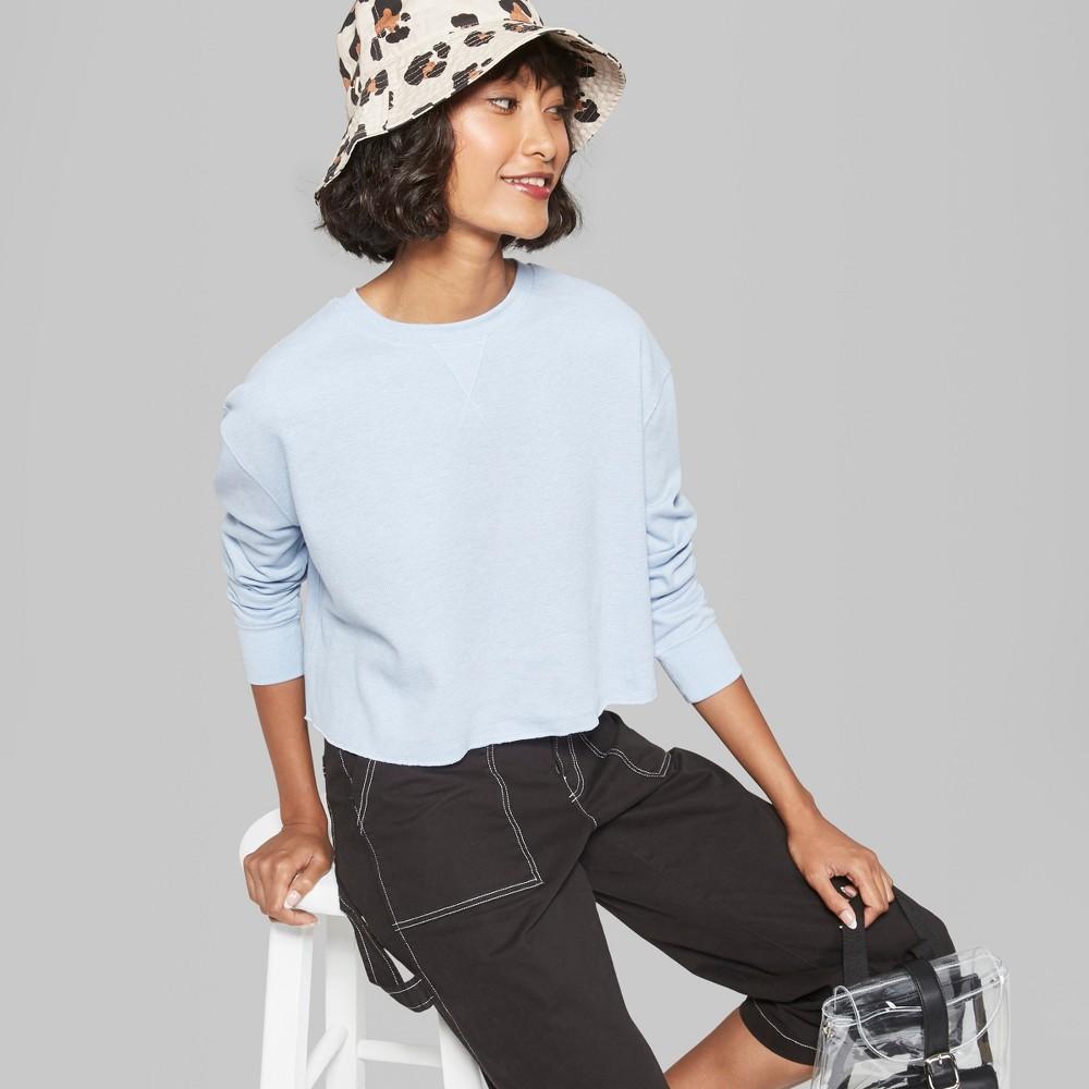Women's Long Sleeve Boxy Waffle T-Shirt - Wild Fable Blue S