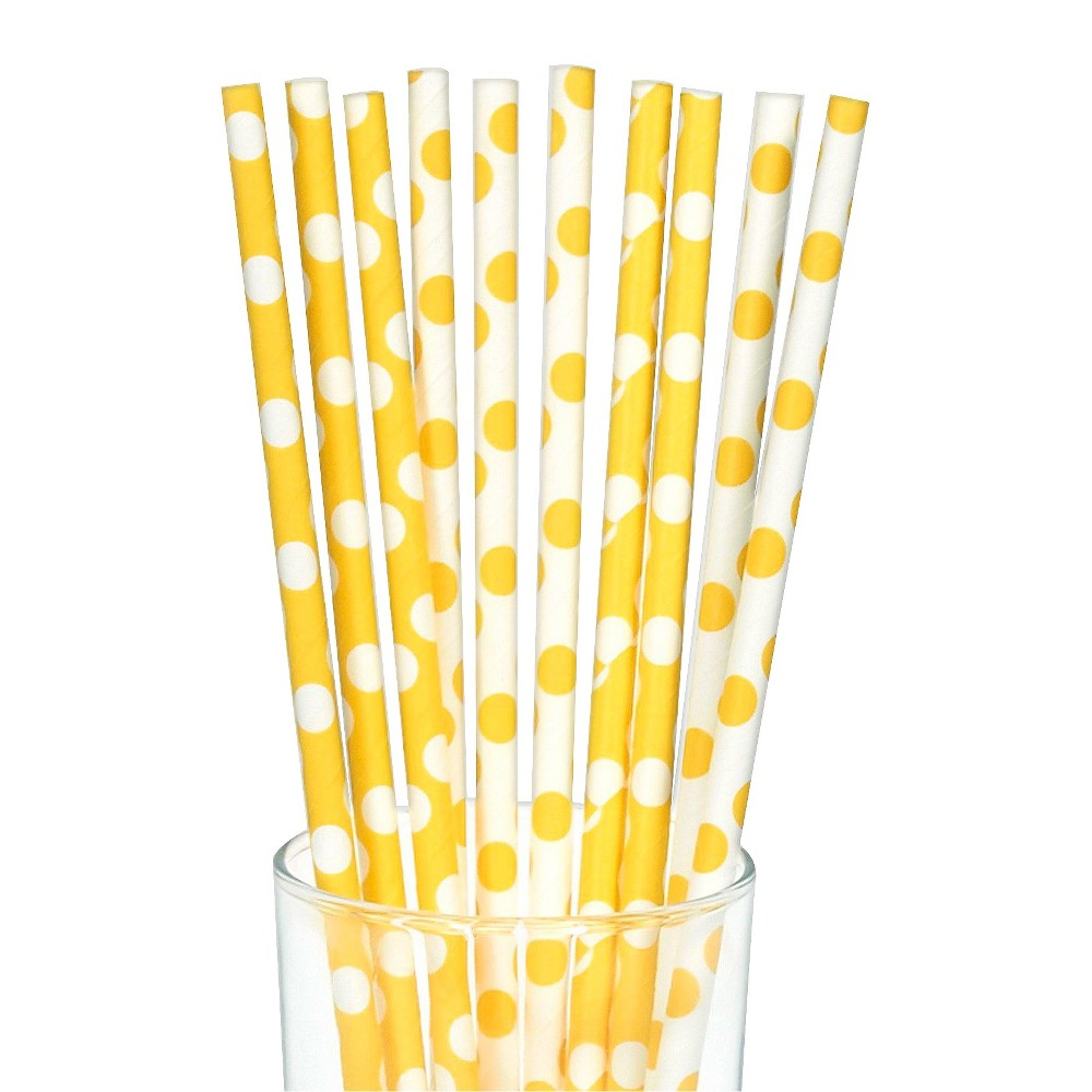 10ct Yellow & White Polka Dot Paper Straw