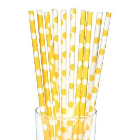 10ct Yellow & White Polka Dot Paper Straw - image 1 of 1