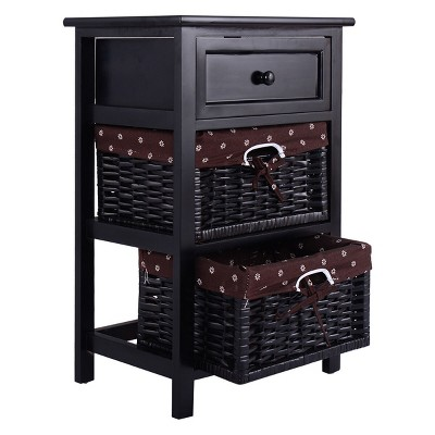 Costway Black Night Stand 3 Tiers 1 Drawer Bedside End Table Organizer Wood W/2 Baskets