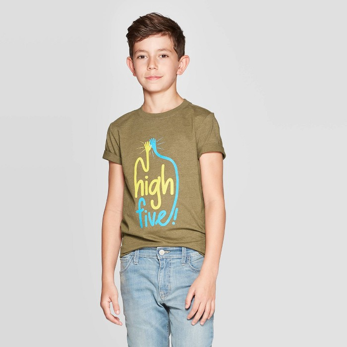 Boys' Short Sleeve Graphic T-Shirt - Cat & Jack™ Olive - image 1 of 3