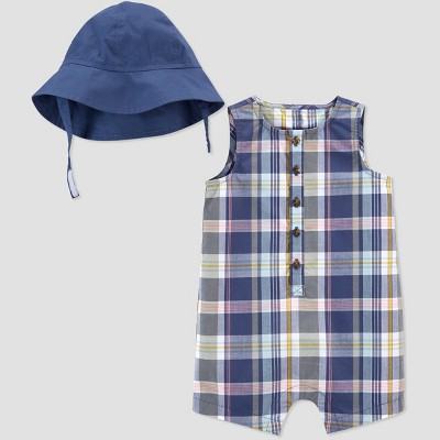 Baby Girls' Plaid Romper with Hat - Just One You® made by carter's Blue 3M