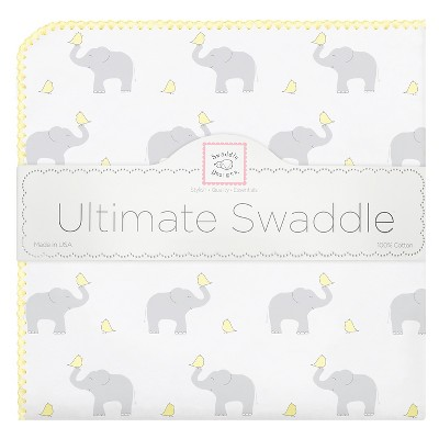 SwaddleDesigns Ultimate Receiving Blanket - Elephant - Pastel Yellow