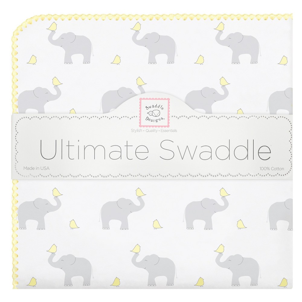 Image of SwaddleDesigns Ultimate Receiving Blanket - Elephant - Pastel Yellow