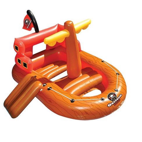 """Swimline 62"""" Inflatable Galleon Raider Pirate Ship Floating Toy - Orange/Red - image 1 of 3"""