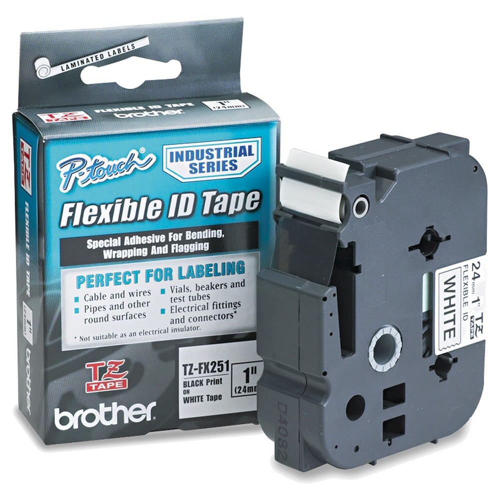 Image of Brother P-Touch TZe Flexible Tape Cartridge for P-Touch Labelers - Black/White