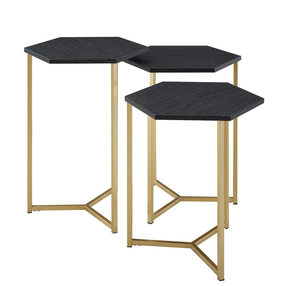 Set of 3 Hex Nesting Tables Graphite / Gold - Saracina Home, Grey/Gold
