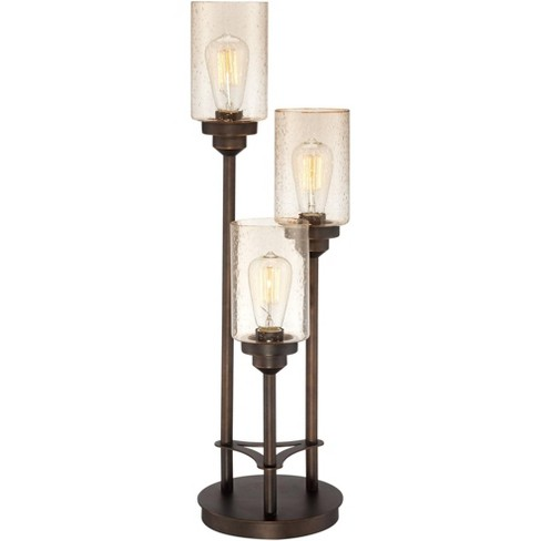 Franklin Iron Works Modern Industrial Console Table Lamp Bronze 3-Light Amber Seedy Glass Shade for Living Room Bedroom Office - image 1 of 4