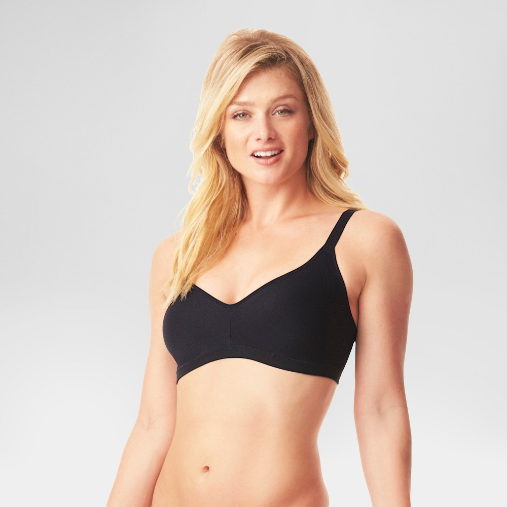 Image of Simply Perfect by Warner's Women's Underarm Smoothing Seamless Wireless Bra Black S, Women's, Size: Small