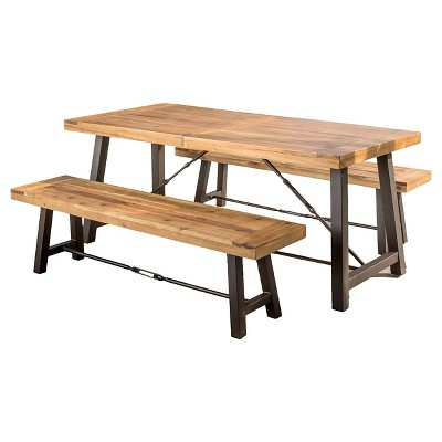 Catriona 3pc Acacia Wood Picnic Table - Teak Finish - Christopher Knight Home