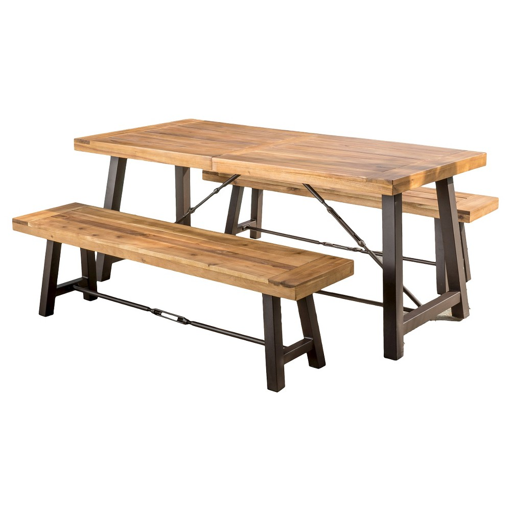 Catriona 3pc Acacia Wood Picnic Table - Teak (Brown) Finish - Christopher Knight Home
