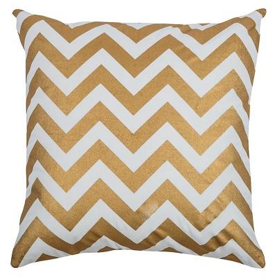 """18""""x18"""" Cotton Chevron Striped Square Throw Pillow - Rizzy Home"""