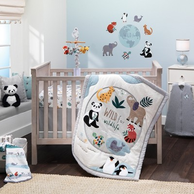 Lambs & Ivy Wild Life 5-Piece Baby Crib Bedding Set - Protect the Animals