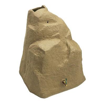 Good Ideas Rain Wizard Outdoor 42 Gallon Weatherproof Rain Barrel Rock with Brass Spout, Sandstone