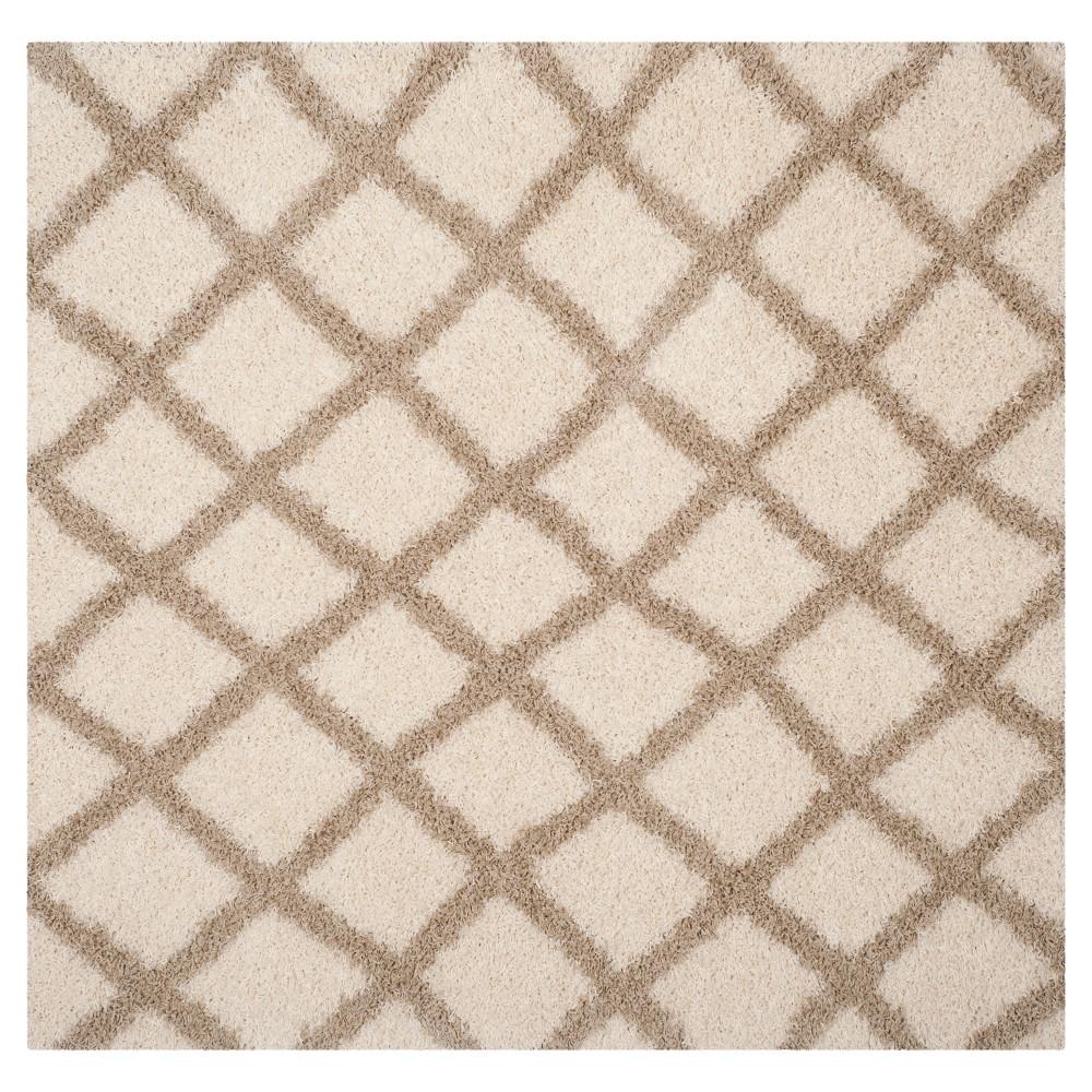 Ivory/Beige Geometric Loomed Square Area Rug - (6'X6') - Safavieh