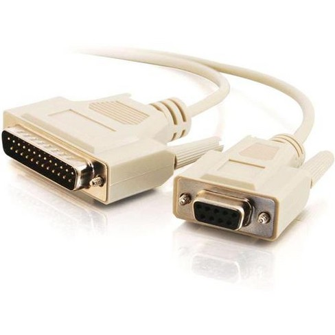 C2G 6ft DB25 Male to DB9 Female Null Modem Cable - DB-25 Male - DB-9 Female - 6ft - Beige - image 1 of 4