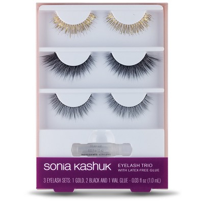 8772c203cbe Sonia Kashuk™ Eyelash Trio With Latex-Free Glue Gold & Black - .03 Fl Oz -  3pk : Target