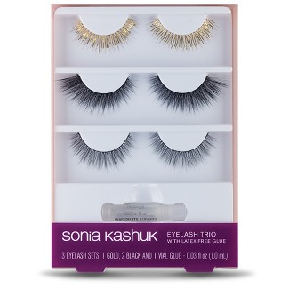 Sonia Kashuk™ Eyelash Trio with Latex-Free Glue Gold & Black - .03 fl oz - 3pk