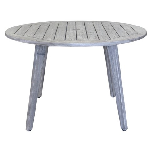 Teak Round La Jolla Outdoor Dining Table With Umbrella Hole And