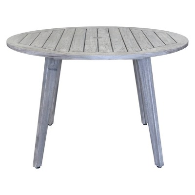 Teak Round La Jolla Outdoor Dining Table With Umbrella Hole And Cover    Driftwood Gray   Courtyard Casual : Target
