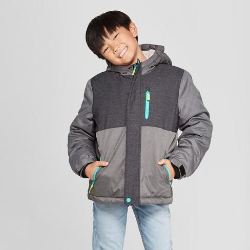12ac03862 Boys  Hooded Ski Puffer Jacket - Cat   Jack™ Gray   Target