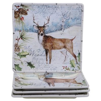 "Certified International Winter Lodge Square Ceramic Dinner Plates 11"" White - Set of 4"