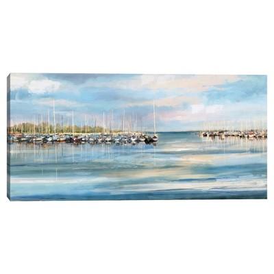 "27"" x 54"" Harbor by Studio Arts Canvas Art Print Blue - Masterpiece Art Gallery"
