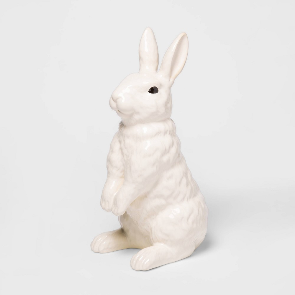 "Image of ""12.6"""" x 5.3"""" Decorative Ceramic Bunny Figurine White - Threshold"""