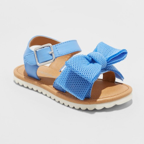Toddler Girls' Eliora Bow Slide Sandals - Cat & Jack™ Blue 11 - image 1 of 3
